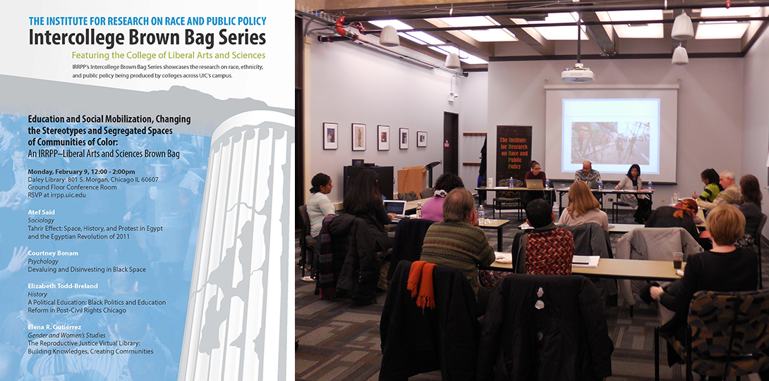 Poster of February 9, 2015 Lunchtime Lecture event next to photo of panelists seated before the audience