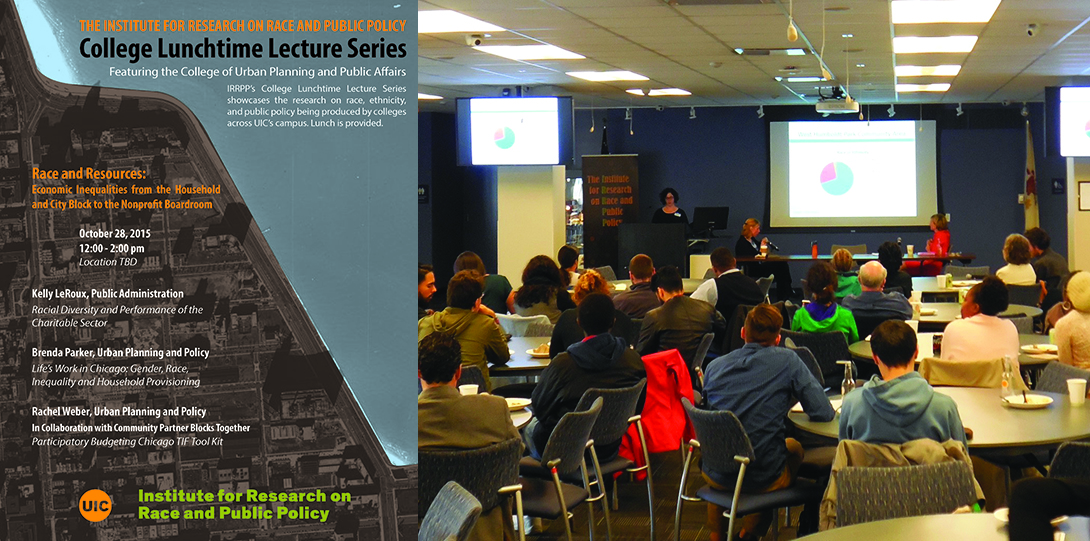 Poster of October 28, 2015 Lunchtime Lecture event next to a photo of Rachel Weber addressing the audience from a podium