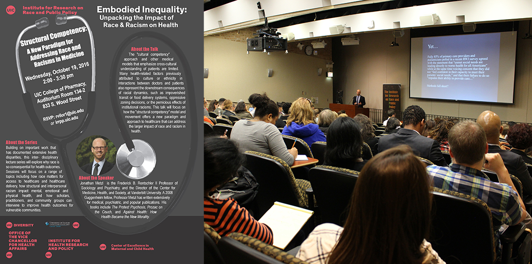 Poster of October 19, 2016 Embodied Inequities event with photo of Jonathan Metzl speaking at a podium before an auditorium audience