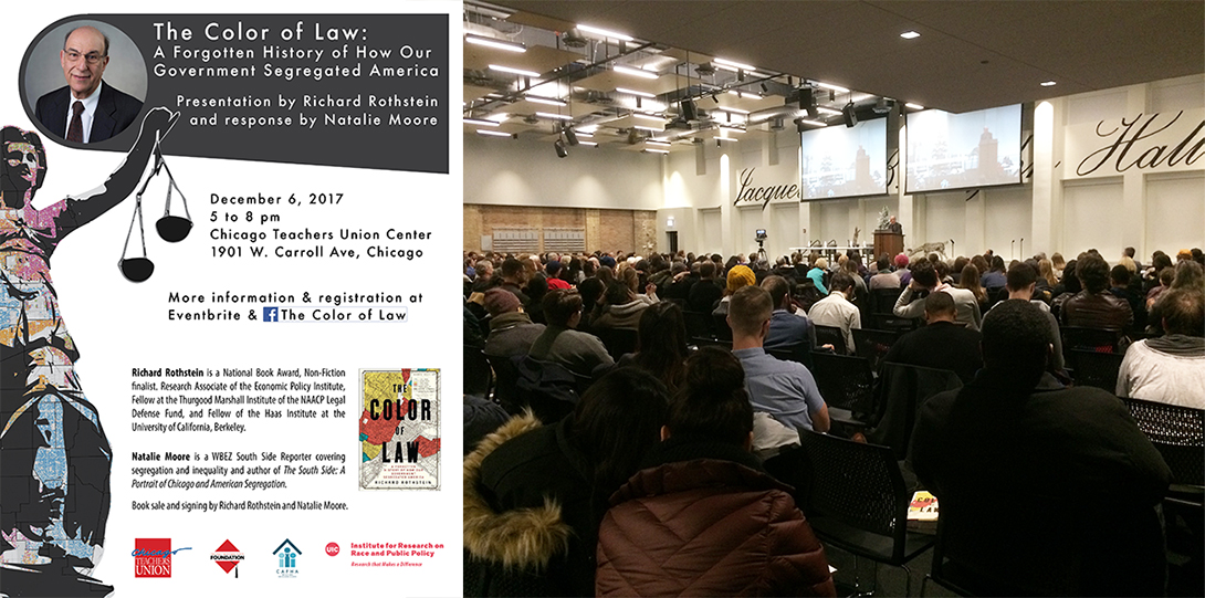 Poster of December 6, 2017 Legacies of Racism event with photo of Richard Rothstein speaking at a podium before a large audience