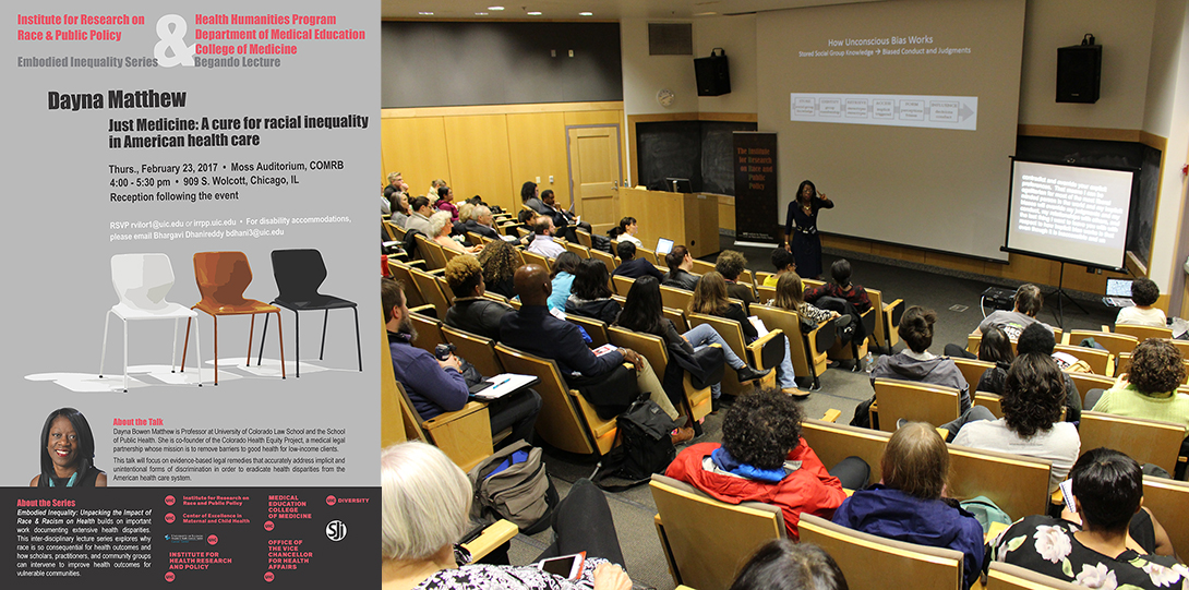 Poster of February 23, 2017 Embodied Inequities event with photo of Dayna Bowen Matthew speaking in front of an audience