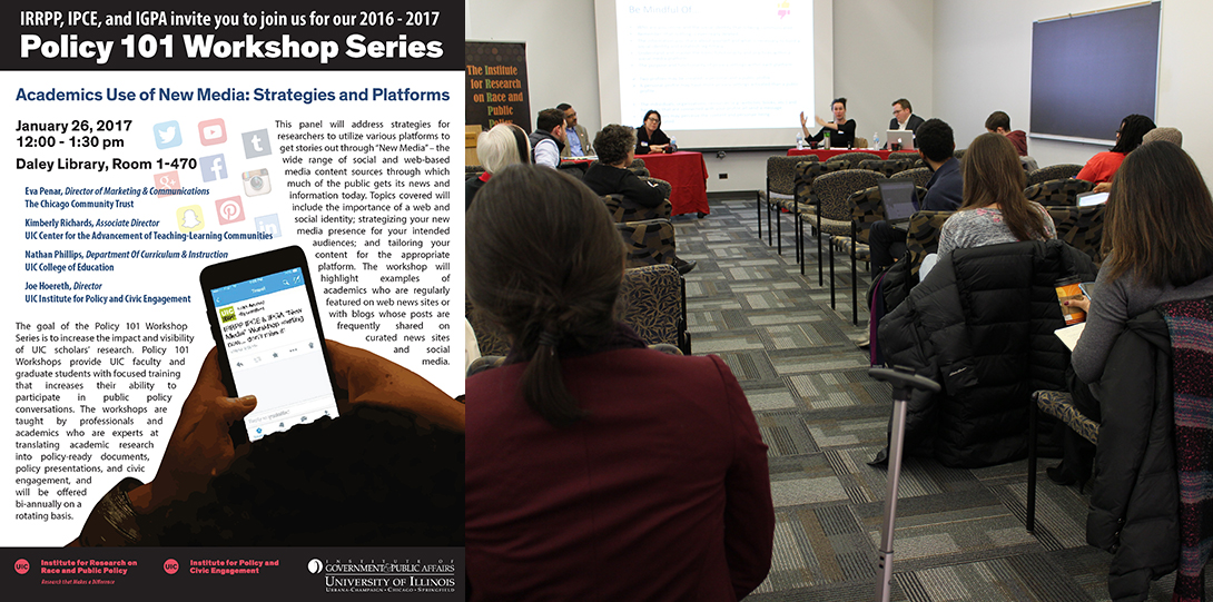 Poster of January 26, 2017 Policy 101 workshop with photo of Eva Penar, Kimberly Richards, Nathan Phillips, Joe Hoereth seated in the front of a room in front of an audience
