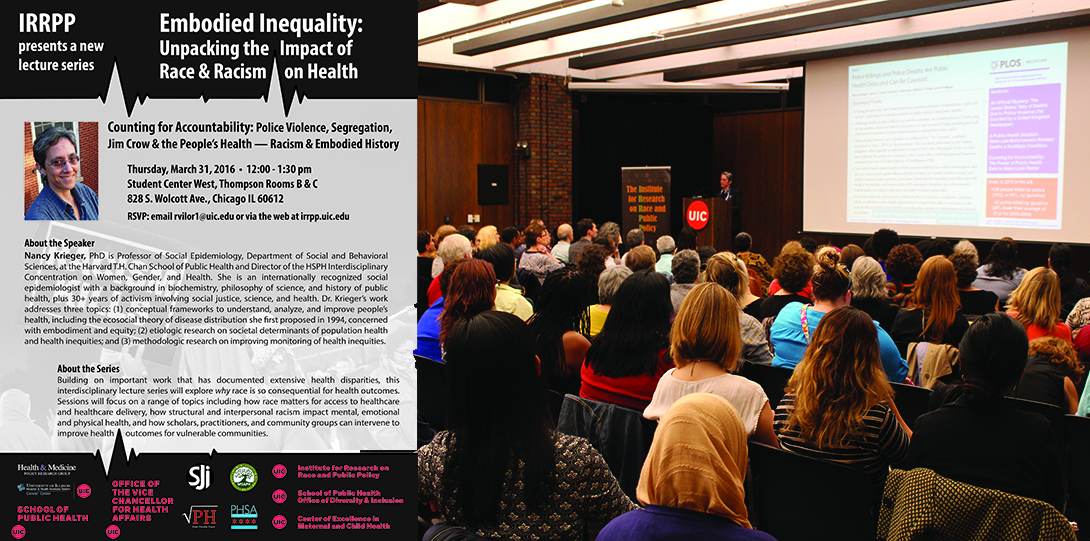 Poster of March 31, 2016 Embodied Inequities event with photo of Nancy Krieger behind a podium addressing an audience