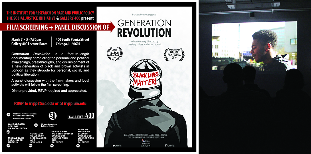 Poster of March 7, 2017 Legacies of Racism event with photo of Generation Revolution film screening