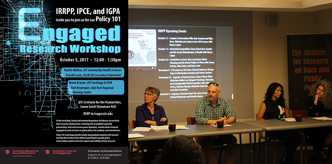 Poster of October 5, 2017 Policy 101 workshop with photo of Maria Krysan, Rob Breymaier, Araceli Lucio, and Yamile Molina seated at a table for the event