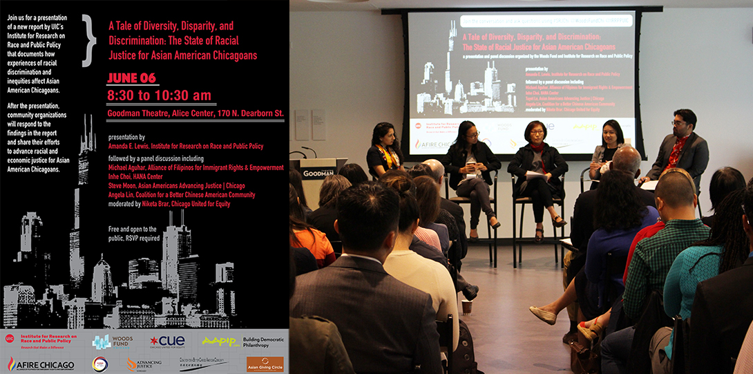 Poster of June 6, 2018 Legacies of Racism event with Michael Aguhar, Inhe Choi, Tuyet Le, Angela Lin, Niketa Brar speaking before an audience