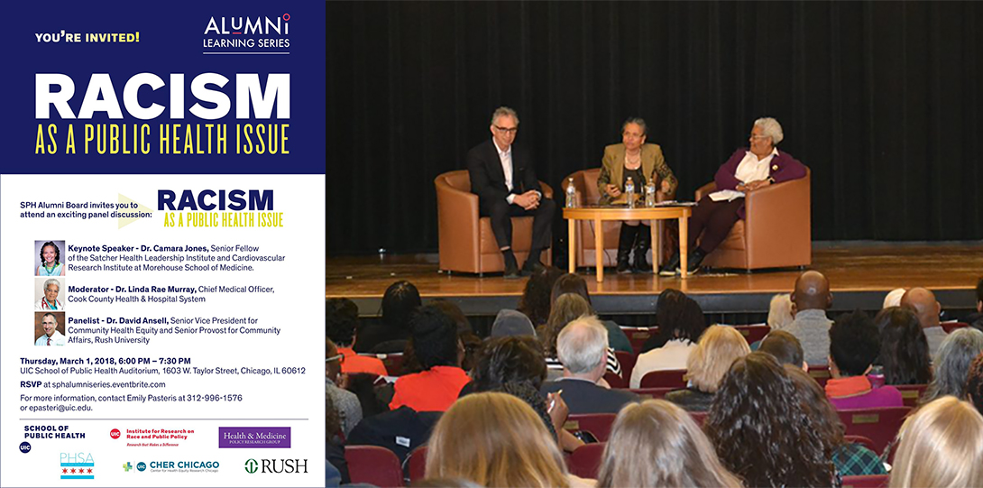 Poster of March 1, 2018 Embodied Inequities event and photo of David Ansell, Camara Jones, and Linda Rae Murray on stage before the audience