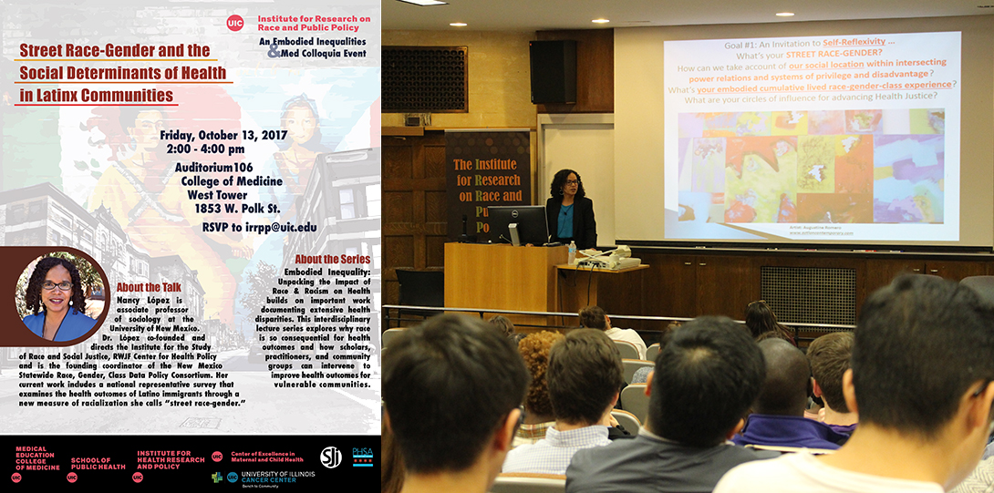Poster of October 13, 2017 Embodied Inequities event with photo of Nancy López speaking at a podium before an audience of students