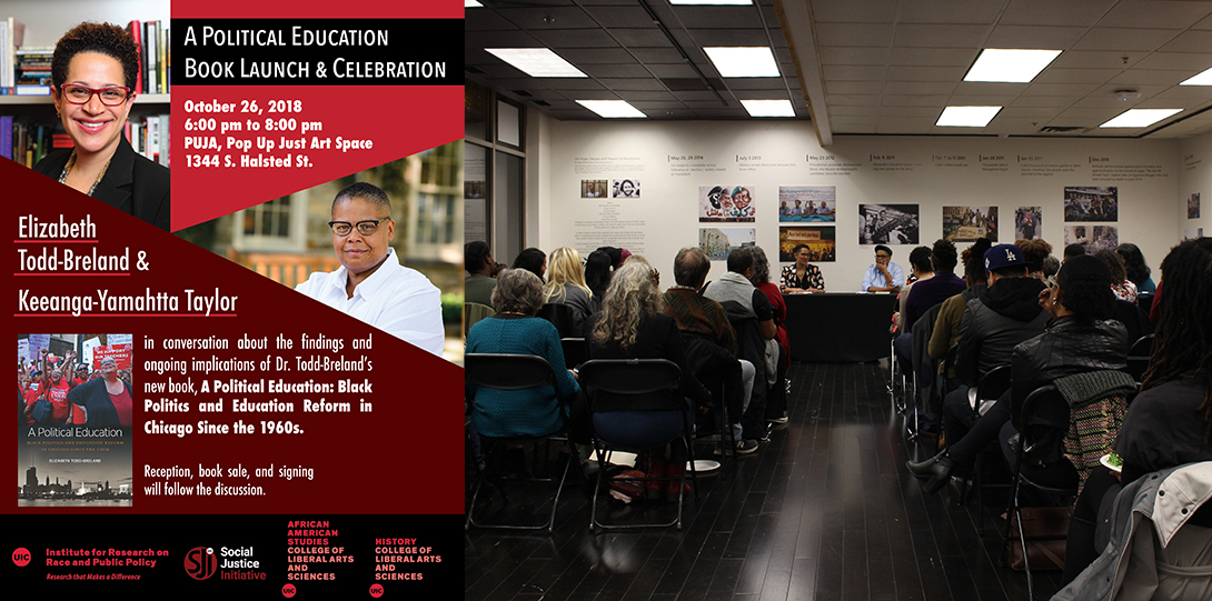 Poster of October 26, 2018 Legacies of Racism event with photo of Elizabeth Todd-Breland and Keeanga-Yamahtta Taylor talking together at a table before an audience