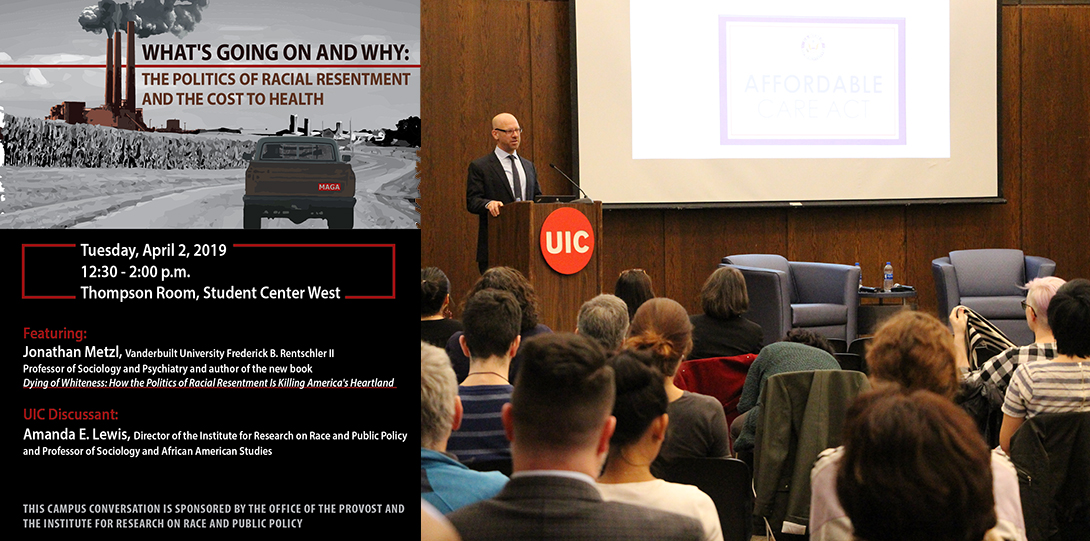 Poster of April 2, 2019 Embodied Inequities event and photo with speaker Jonathan Metzl talking to the audience