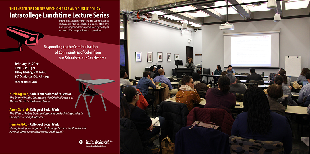 Poster of February 19, 2020 Lunchtime Lecture event next to image of Henrika McCoy speaking at podium before audience