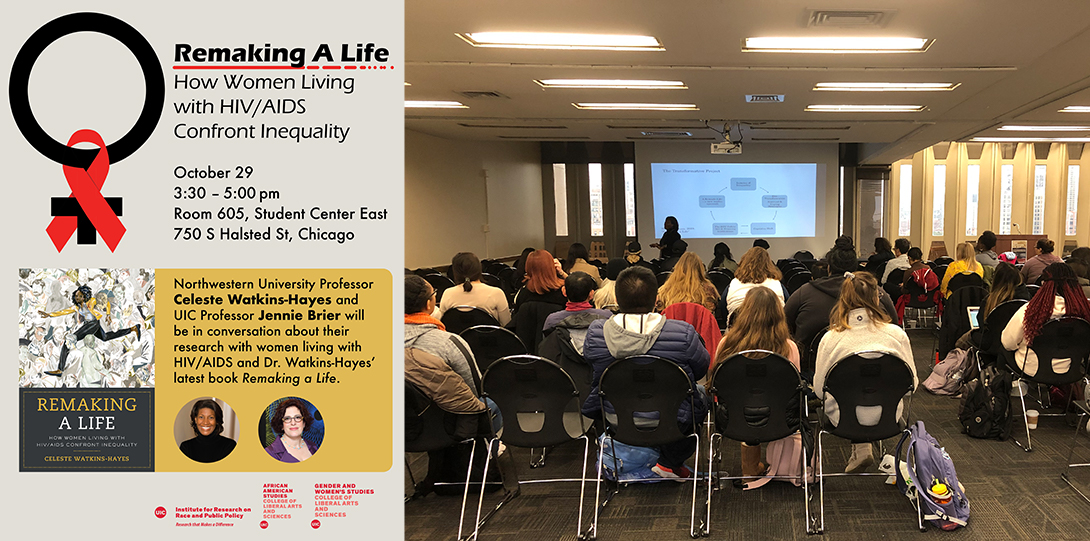 Poster of October 29, 2019 event and photograph of the event with Celeste Watkins Hayes speaking before a room full of students