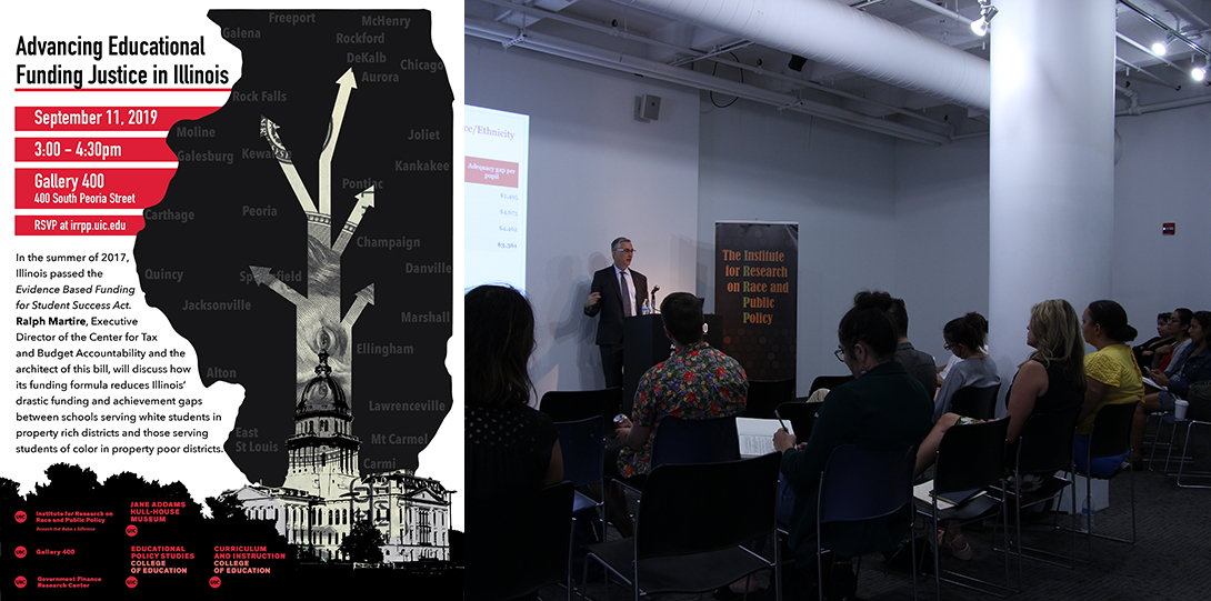 Poster of September 11, 2019 Legacies of Racism event with photograph of Ralph Martire showing a powerpoint before a room of people
