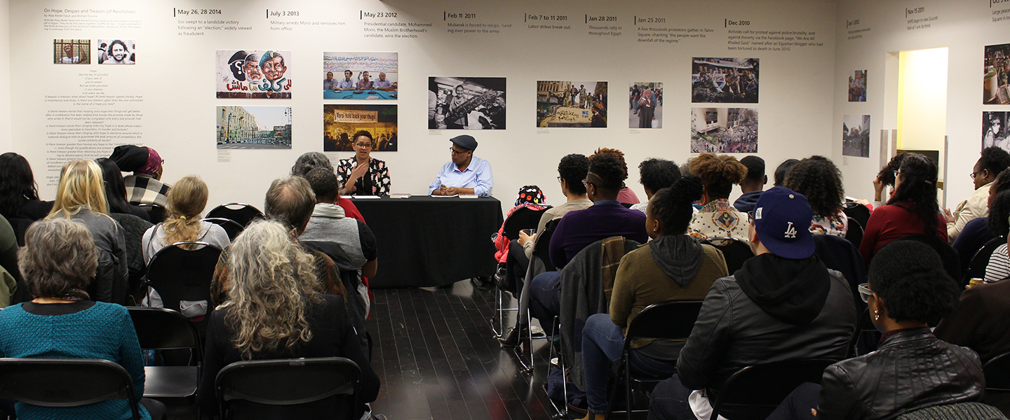 photo of book launch event with Elizabeth Todd-Breland and Keeanga-Yamahtta taylor