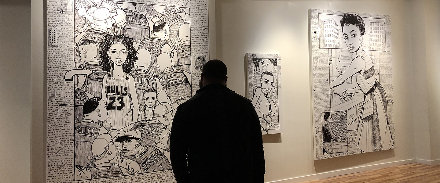 a lone individual looks at a painting in a gallery