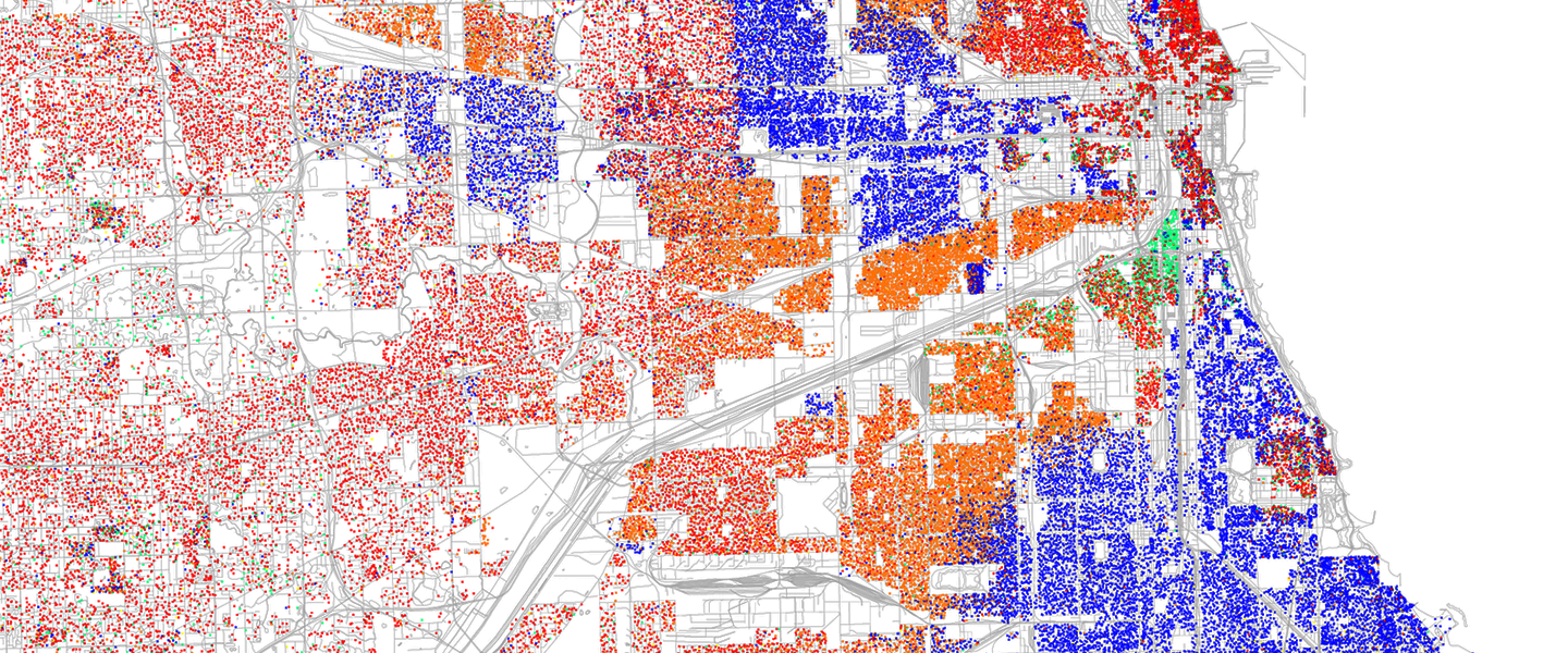 colorful abstract detail of a map of Chicago