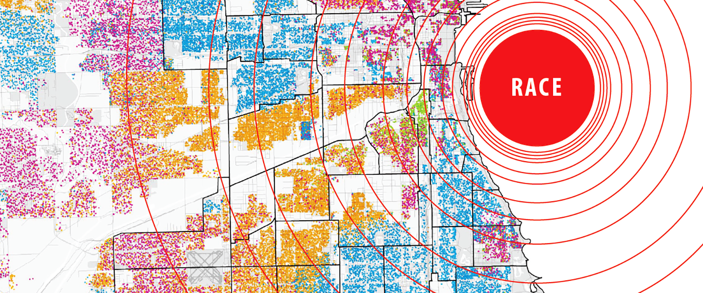map of chicago with words like justice, race, and housing overlaid