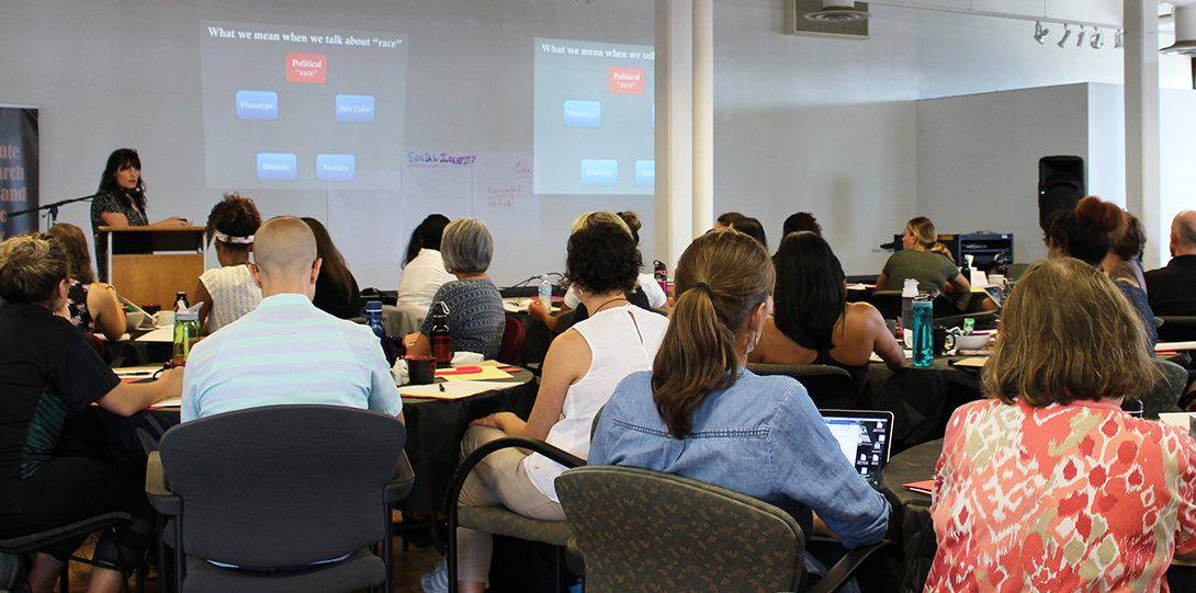 Photo of Amanda E. Lewis presenting at the 2018 Summer Education Workshop