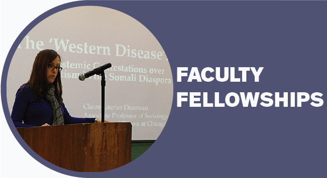 Photo of IRRPP Faculty Fellow speaking about her research at a podium