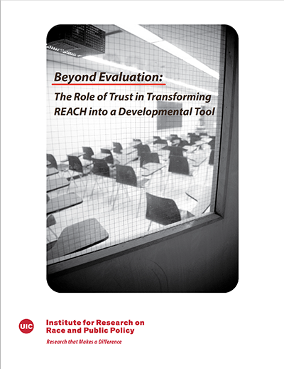 cover of CTU CPS Reach Report showing the title and an image of an empty classroom full of chairs