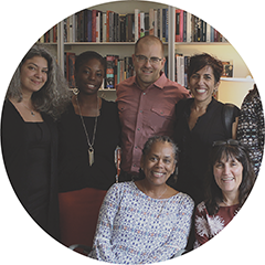six UIC faculty gathered together in IRRPP's office