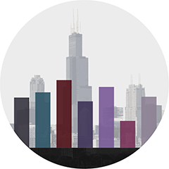Photo of downtown Chicago with bar graph superimposed