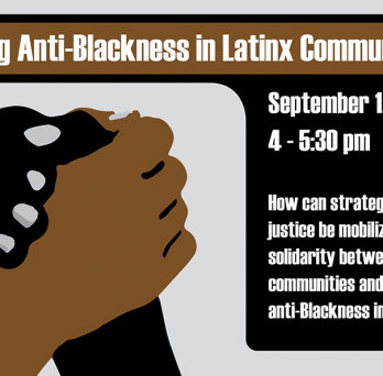 Black and Brown hands clasped below text with the title of the event