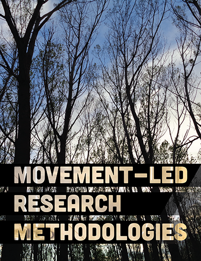 silhouettes of trees beneath a blue sky with Movement-led Research Methodologies text in the foreground