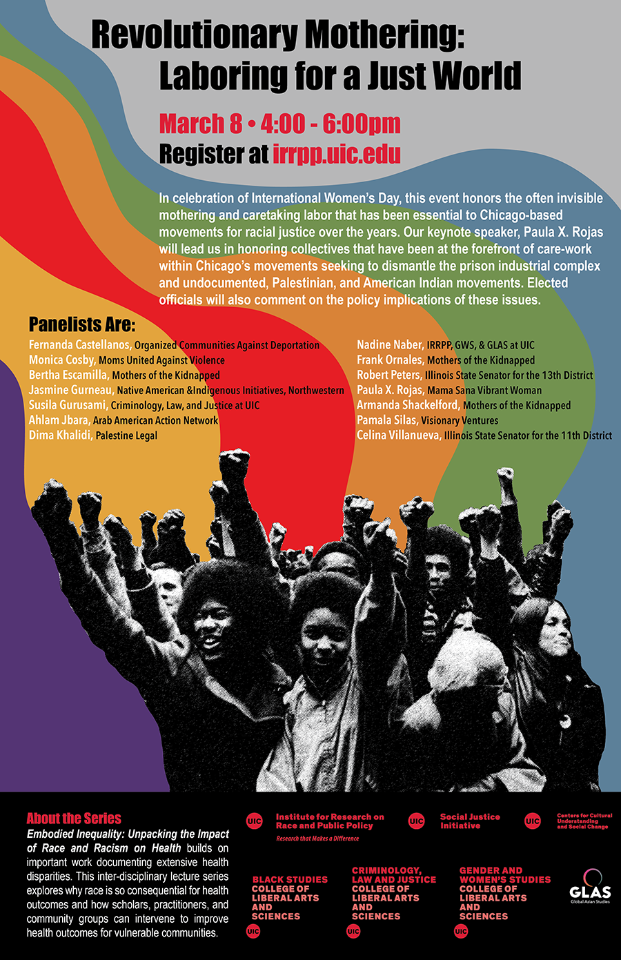A colorful background with rainbow colors behind a black and white image of a crowd with raised fists and text about the Revolutionary Mothering event above it
