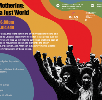 A colorful background with rainbow colors behind a black and white image of a crowd with raised fists and text about the Revolutionary Mothering event next to it
