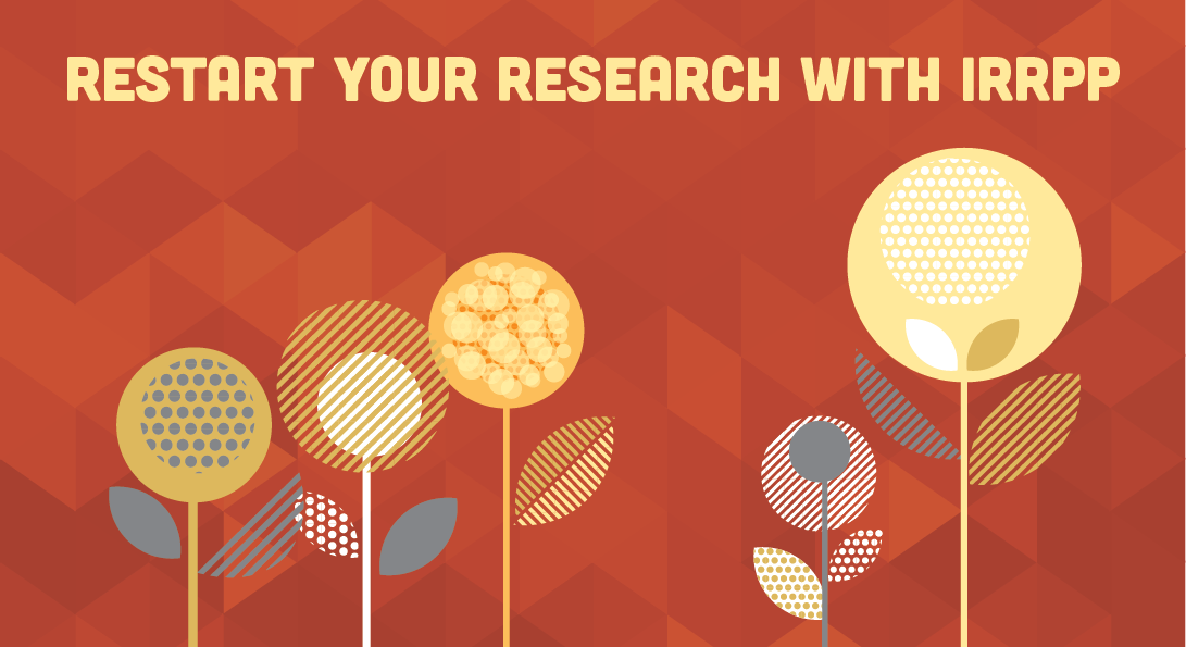 Red triangular background with stylized yellow flowers and Restart Your Research with IRRPP text